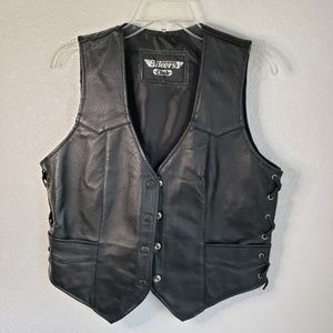 Bikers Club Women's black leather vest